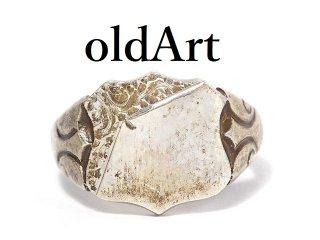英国イギリス1973年製造ヴィンテージ彫刻シールド型シグネットリングメンズシルバー製指輪11.5号ホールマーク刻印【M-14443】