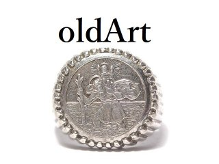 英国イギリス製1976年製造ヴィンテージ聖クリストファーシルバー製メンズコインリング指輪19号ホールマーク刻印【M-14444】
