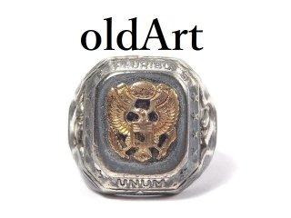 USA製1940-50年代ヴィンテージ当時物US.ARMY白頭鷲STERLINGシルバー製19号メンズミリタリーリング指輪【M-14431】