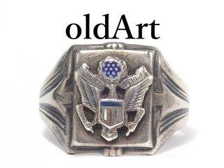 USA製1940-50年代ヴィンテージ当時物US.ARMY白頭鷲STERLINGシルバー製21号メンズミリタリーリング指輪【M-14433】