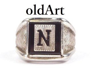 USA製1950年代ヴィンテージClark&Coombs社イニシャルNオニキスシルバー製メンズリング指輪【18.5号】【M-14455】