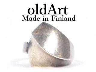 北欧フィンランド製1970年代Matti J Hyvarinenスカンジナビアデザイナーモダンシルバー製リング指輪15号【M-14453】