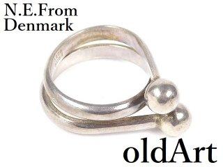 北欧デンマーク製N.E.From1950-60年代ヴィンテージモダンシルバー銀製リング指輪4号【M-14454】