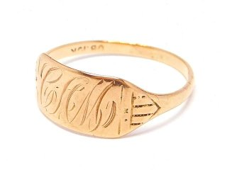 USA製アンティーク1910-20年代OSTBY&BARTON社イニシャルCAM彫刻シグネットリング指輪【11号】【10金無垢/10Kゴールド】【M-14470】