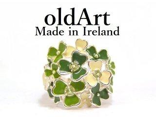アイルランド製SOLVAR社シャムロックShamrock国花エナメルシルバー製アイリッシュリング指輪14号【M-14477】