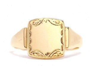 英国イギリス1960年製造H Samuel Ltd.ヴィンテージ彫刻シグネットリング9CTゴールド9金無垢メンズ指輪【20.8号】【M-14499】