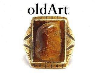USA製1930年代アンティークローマ神話マルス騎士カメオタイガーアイ彫刻10K×STERLINGシルバー製リング指輪【17号】【M-14493】