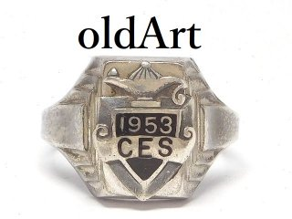 USA製ヴィンテージ1953年代BOSTON BALE社製STERLINGシルバー製メンズカレッジリング指輪【17号】【M-14486】