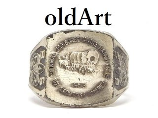 USA製ヴィンテージ1953年代BSAボーイスカウト馬車STERLINGスターリングシルバー製アジャスター式メンズリング指輪【18号】【M-14488】