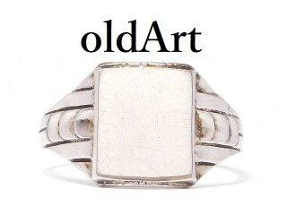 USA製1930年代Clark&Coombs社アールデコアンティークシグネットSTERLINGシルバー製リング指輪13.5号【M-14510】