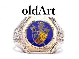 USA製1950年代ヴィンテージFCBピシアス騎士会シルバー製七宝焼メンズリング指輪【21号】 【M-14511】