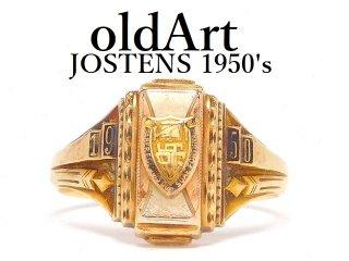 USA製1950年ヴィンテージJOSTENSジャスティン社製ヘリテイジカレッジリング指輪【16号】【10金無垢/10Kゴールド】【M-14476】