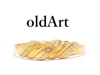 英国イギリス製ダイヤモンド9金無垢/9CTゴールドツートーン曲線レディースリング指輪20号ホールマーク刻印【M-14519】