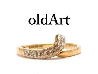 英国イギリス製ダイヤモンド9金無垢/9CTゴールドツートーン曲線レディースリング指輪15号ホールマーク刻印【M-14523】