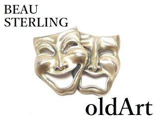 USAヴィンテージ1970年代BEAU STERLINGツーフェイスTWOFACE泣き笑いシルバー製ピンブローチロカビリー【M-14533】