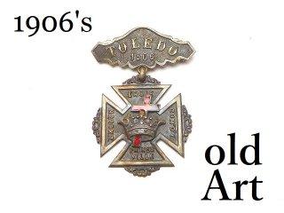 USA製1906年当時物エドワーディアンアンティークフリーメイソンテンプル騎士団勲章十字架バッジ徽章【M-14538】