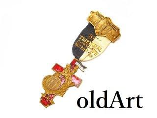 USA製1928年当時物エドワーディアンアンティークフリーメイソンテンプル騎士団勲章十字架バッジ徽章【M-14540】