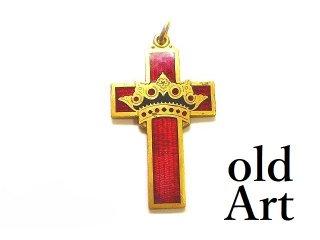 USA製ヴィンテージテンプル騎士団レッドクロス十字架エナメルフォブペンダントトップ【M-14556】