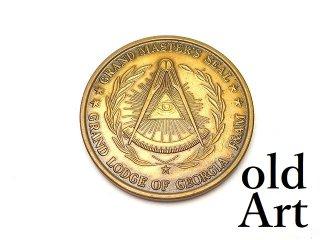USA製ヴィンテージ1989年フリーメイソンジョージア州グランドロッジF&AM会員限定コインメダル【M-14544】