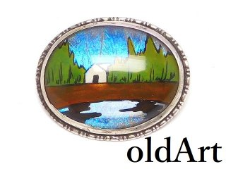 英国製アンティーク1920年代アールデコモルフォ蝶バタフライウィング純銀ピンブローチ/幻想的風景湖畔の家【M-14525】