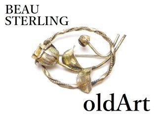 USA製1950年代BEAU STERLING透かし細工薔薇シルバー銀製コスチュームジュエリービンテージブローチ【M-14588】