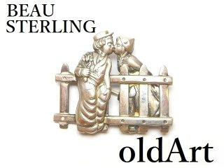USA製1960年代BEAU STERLING透かし細工シルバー銀製コスチュームジュエリービンテージブローチ【M-14589】