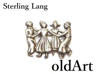 USA製ヴィンテージ1950年代Sterling Lang銀細工コスチュームジュエリーピンブローチ【M-14590】