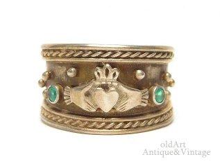 アイルランド製ヴィンテージ1970年代伝統的Claddagh Ringクラダリングスターリングシルバー製指輪16.5号【M-14641】
