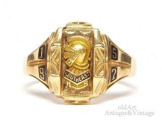 USA製1957年ヴィンテージHERFF JONES/ハーフジョンズ社SOUTHEAST HS騎士10金無垢ヘリテイジカレッジリング指輪10Kゴールド【13号】【M-14627】