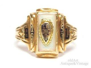 USA製1953年ヴィンテージHERFF JONES/ハーフジョンズ社マザーオブパール10金無垢ヘリテイジカレッジリング指輪10Kゴールド【12.5号】【M-14628】