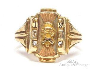 USA製1958年ヴィンテージJOSTENSジャスティン社製RAWLINS馬ヘリテイジカレッジリング指輪【15.8号】【10金無垢/10Kゴールド】【M-14630】
