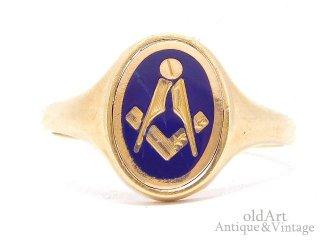 英国イギリス製1983年フリーメイソン回転式ギミック9金無垢/9ctゴールドメンズシグネットリング指輪【27号】【M-14660】