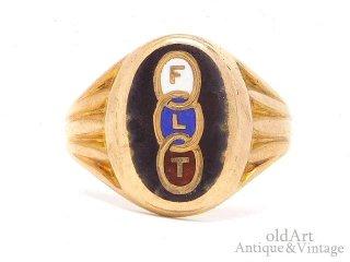 USA製アンティーク1920年代OddfellowsオッドフェローズFLT10金無垢エナメルメンズリング指輪10Kゴールド【21号】【M-14661】