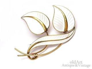 北欧ノルウェー製1950年代Albert Scharning七宝焼ホワイトエナメル装飾シルバー銀製リーフ葉ブローチ【M-14692】