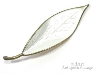 北欧ノルウェー製1940-50年代David Andersen七宝焼エナメル装飾シルバー銀製リーフピンブローチホワイト【M-14694】
