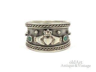 アイルランド製ヴィンテージ1970年代伝統的Claddagh Ringクラダリングスターリングシルバー製指輪【15.5号】【M-14717】