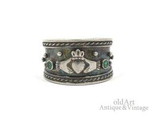 アイルランド製ヴィンテージ1970年代伝統的Claddagh Ringクラダリングスターリングシルバー製指輪【13.5号】【M-14717】
