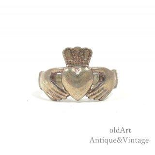 アイルランド製SOLVAR社伝統的な指輪Claddagh Ringクラダリングスターリングシルバー製17号ホールマーク刻印【M-14735】