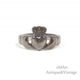 アイルランド製SOLVAR社伝統的な指輪Claddagh Ringクラダリングスターリングシルバー製10号【M-14736】
