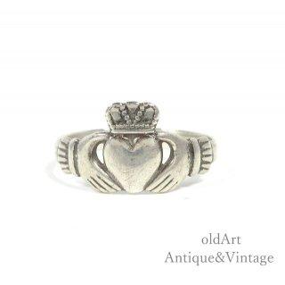 アイルランド製SOLVAR社伝統的な指輪Claddagh Ringクラダリングスターリングシルバー製14.5号ホールマーク刻印【M-14737】