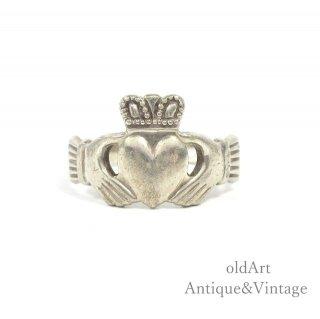 アイルランド製SOLVAR社伝統的な指輪Claddagh Ringクラダリングスターリングシルバー製11号ホールマーク刻印【M-14738】