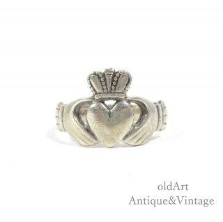 アイルランド製RIL工房伝統的な指輪Claddagh Ringクラダリングスターリングシルバー製12.5号ホールマーク刻印【M-14739】