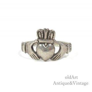 アイルランド製TJH工房1980年製造伝統的な指輪Claddagh Ringクラダリングスターリングシルバー製13.5号ホールマーク刻印【M-14740】