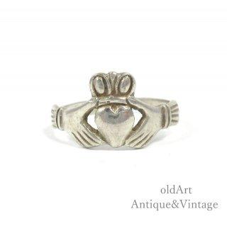 アイルランド製RG工房伝統的な指輪Claddagh Ringクラダリングスターリングシルバー製7.5号ホールマーク刻印【M-14741】