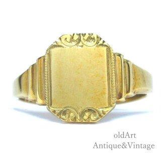 英国イギリス1965年製JHW工房ヴィンテージ彫刻メンズシグネットリング9CTゴールド/9金無垢20.5号指輪【M-14747】