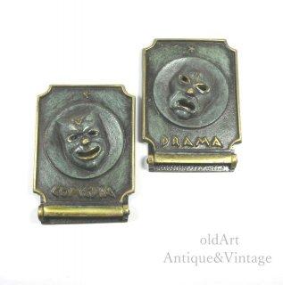 1960年代ヴィンテージツーフェイスTWOFACE真鍮製ゴールドブックエンド/置物【N-20017】