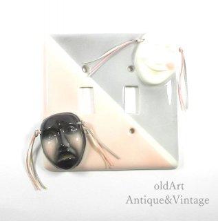 USAアメリカヴィンテージ1950-60年代ツーフェイスTWOFACE陶器製レバー用ライトスイッチカバー【N-20018】