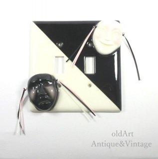 USAアメリカヴィンテージ1950-60年代ツーフェイスTWOFACE陶器製レバー用ライトスイッチカバー【N-20019】