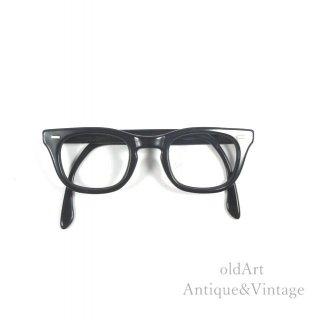 USA製1960年代Bausch&LombボシュロムヴィンテージUSS黒縁メガネ眼鏡フレーム44ー24 5-6 1/4【N-20092】