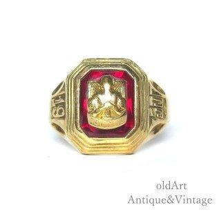 USA製1950年ヴィンテージWEST NEW YORK HS赤石10金無垢ヘリテイジカレッジリング指輪10Kゴールド【13.5号】【M-14905】